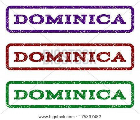 Dominica watermark stamp. Text tag inside rounded rectangle with grunge design style. Vector variants are indigo blue, red, green ink colors. Rubber seal stamp with dust texture.