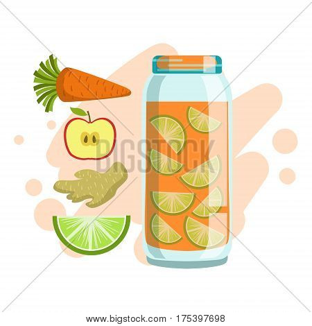 Carrot, Lime, Ginger And Apple Smoothie, Non-Alcoholic Fresh Cocktail In A Glass And The Ingredients For It Vector Illustration. Infographic Recipe Of Healthy Vegan Breakfast Drink With Fresh Juices.