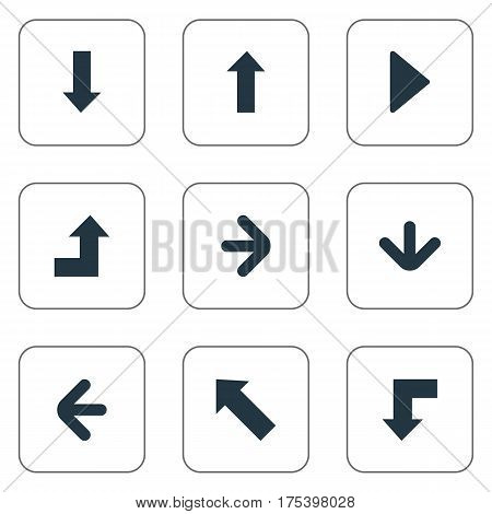 Vector Illustration Set Of Simple Pointer Icons. Elements Upward Direction, Increasing, Reduction And Other Synonyms Arrow, Direction And Decline.