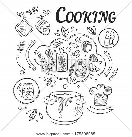 Dinner Cooking Set Of Ingredients And Tools For Food Preparation Hand Drawn Black And White Illustration. Vector Drawing With Different Kitchen And Food Items In Monochrome Color.