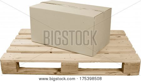 Cardboard Box On Top Of Wooden Shipping Pallet - Isolated
