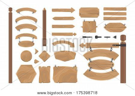 Cartoon wood banners boards isolated on white. Vector Illustration set of cartoon wooden award certificates, arrows showing direction, fences and announcement boards. Brown planks in flat style