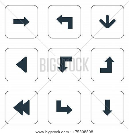 Vector Illustration Set Of Simple Arrows Icons. Elements Downwards Pointing, Pointer, Increasing And Other Synonyms Upper, Increasing And Growing.