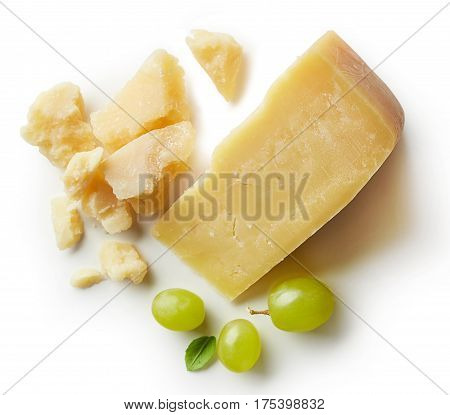 Parmesan Cheese Isolated On White Backgroun