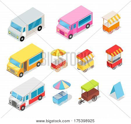 Minivans for street food selling stall collection on white. Colorful means of transportation near stall for ice creams, tasty hot dogs and hot drinks with round and rectangular cloth roof vector