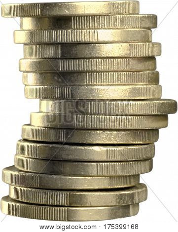 Stack of one pound sterling British coints - isolated image