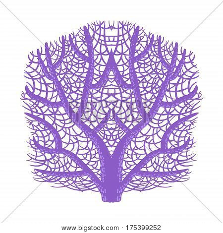 Violet Fan Coral, Tropical Reef Marine Invertebrate Animal Isolated Vector Icon. Underwater Warm Water Nature And Marine Fauna Cartoon Simplified Illustration.