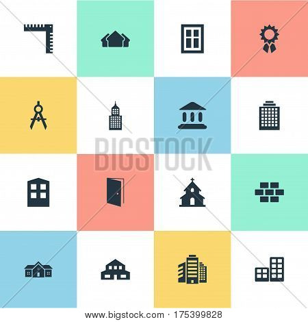 Vector Illustration Set Of Simple Structure Icons. Elements Structure, Engineer Tool, Stone And Other Synonyms Edifice, Shelter And Length.