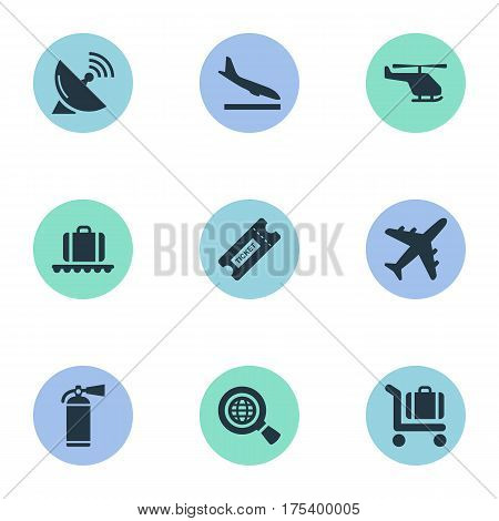Vector Illustration Set Of Simple Airport Icons. Elements Antenna, Plane, Coupon And Other Synonyms Cart, Wold And Trolley.
