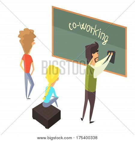 Three Person With Blackboard, Young People Coworking In Informal Atmosphere Sharing Ideas And Experiences. Efficient Space Management And Co-Working Vector Illustration.