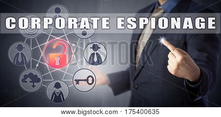 Male security manager in blue shirt and suit identifying CORPORATE ESPIONAGE in a network. Corporate crime concept and cyber warfare metaphor for illegal collection of competitive intelligence.