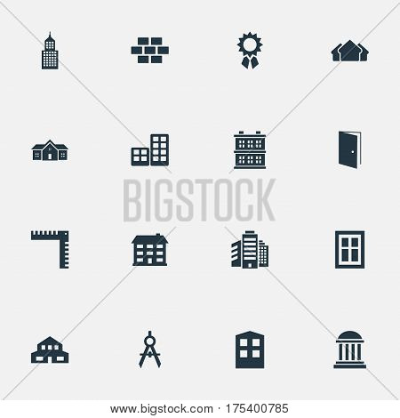 Vector Illustration Set Of Simple Architecture Icons. Elements Residence, Residential, Shelter And Other Synonyms Museum, Superstructure And Flat.