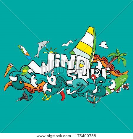 Vector card of windsurfing. Board with a sail wetsuit surfboard wind sail sunglasses. All for lovers of active holidays at sea and active lifestyle. Family summer holiday. Good vector flyer or banner