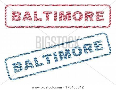 Baltimore text textile seal stamp watermarks. Blue, red fabric vectorized texture. Vector caption inside rounded rectangular shape. Rubber sticker with fiber textile structure.