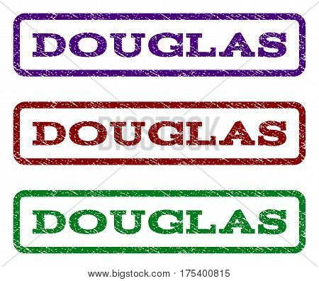 Douglas watermark stamp. Text caption inside rounded rectangle frame with grunge design style. Vector variants are indigo blue, red, green ink colors. Rubber seal stamp with dust texture.