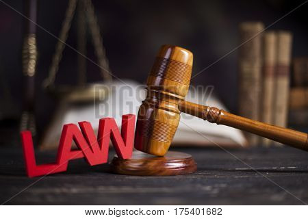 Judges wooden gavel and law Scales