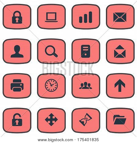 Vector Illustration Set Of Simple Apps Icons. Elements Message, Upward Direction, Community And Other Synonyms Hourglass, Community And Folder.