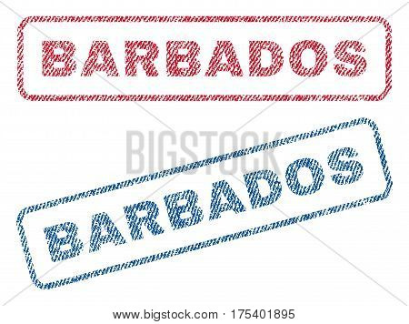 Barbados text textile seal stamp watermarks. Blue, red fabric vectorized texture. Vector tag inside rounded rectangular banner. Rubber emblem with fiber textile structure.