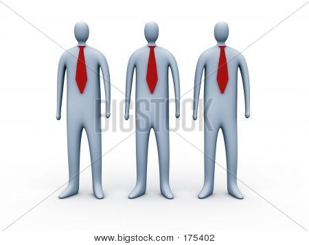 3d People With Red Ties