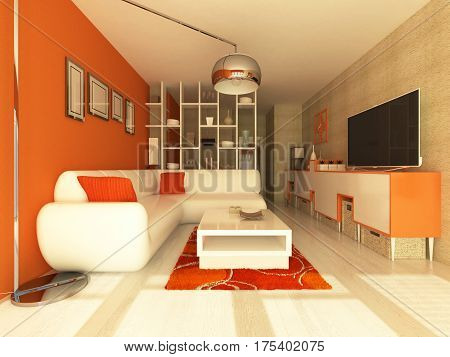 3d render of a beautiful living room with orange walls and white furniture