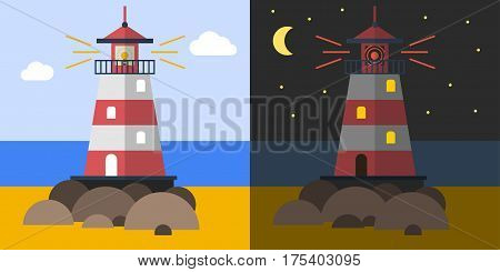Vector flat illustration of lighthouse on the coast at day and night