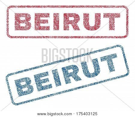 Beirut text textile seal stamp watermarks. Blue, red fabric vectorized texture. Vector caption inside rounded rectangular banner. Rubber sign with fiber textile structure.