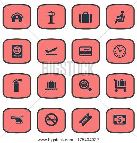 Vector Illustration Set Of Simple Travel Icons. Elements Credit Card, Global Research, Certificate Of Citizenship And Other Synonyms Warning, Hangar And Flight.