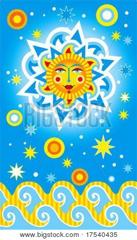 Vector card with a sun and waves