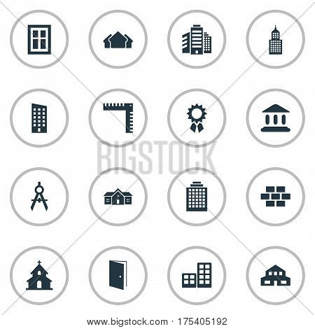 Vector Illustration Set Of Simple Construction Icons. Elements Glazing, Residence, Residential And Other Synonyms Construction, Shack And Offices.