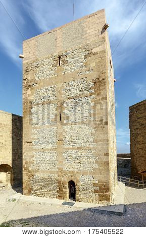 The Templar castle of Monzon. Of Arab origin (10th century) Huesca Aragon Spain. Tower of homage