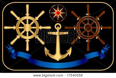Raster version of vector steering-wheels with a anchor and a wind rose (contain the Clipping Path of all objects)