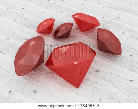3D Render Of A Cluster Of Rubies On A Wooden Surface