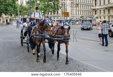VIENNA AUSTRIA - JUNE 6 2012: horse-drawn carriage at Vienna's city center