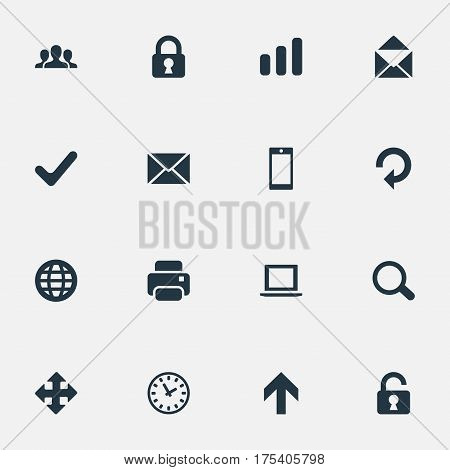 Vector Illustration Set Of Simple Practice Icons. Elements Notebook, Printout, Check And Other Synonyms Touchscreen, Smartphone And Community.