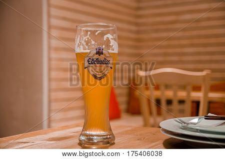 One Pint Of Edelweiss Weissbier In Vienna`s Pub