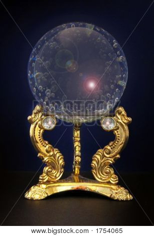 Ornate  Crystal Ball Over Black Background
