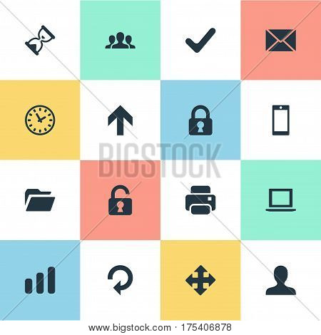Vector Illustration Set Of Simple Practice Icons. Elements Sand Timer, Check, Lock Synonyms Arrow, Dossier And Lock.