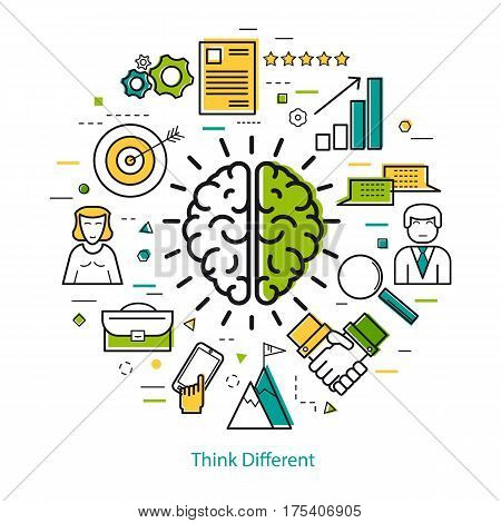 Vector concept of Think Different Round Concept in Thin Line Art Style. Human brain and business icons - document charts computer and man users poster