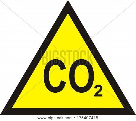 CO2 yellow triangular warning sign carbon dioxide warning sign vector illustration