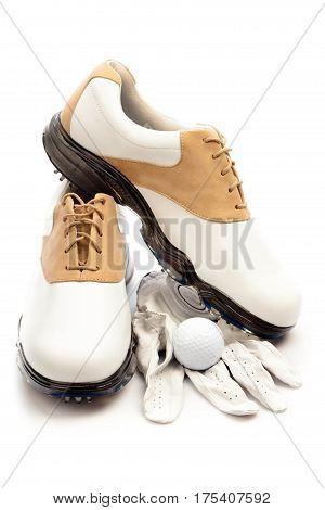Pair of Golf Shoes with Glove and Ball