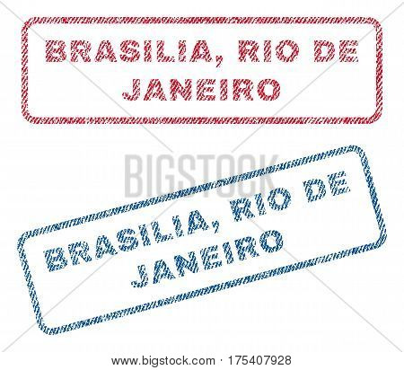 Brasilia, Rio De Janeiro text textile seal stamp watermarks. Blue, red fabric vectorized texture. Vector caption inside rounded rectangular banner. Rubber emblem with fiber textile structure.