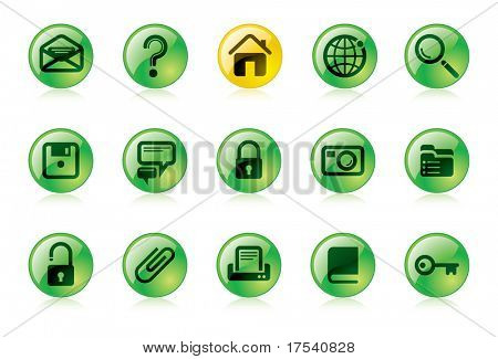 Vector green website and internet icons Easy to edit, manipulate or colorize