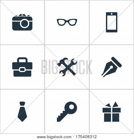 Vector Illustration Set Of Simple Instrument Icons. Elements Present, Digital Camera, Cravat And Other Synonyms Nib, Telephone And Spectacles.