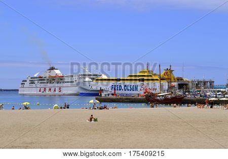 Los Cristianos marina Tenerife Canary Islands Spain Europe - June 15 2016: Los Crristianos Tenerife ferries in the marina