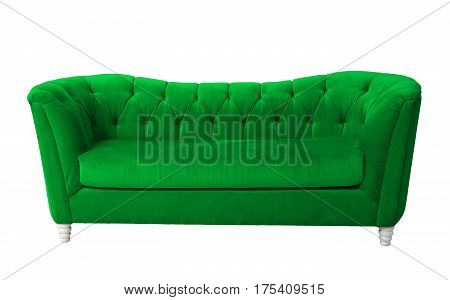 A green furniture isolated with clipping path