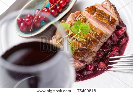 Roasted Duck Breast with Apples and Red Currants in Red Wine Sauce