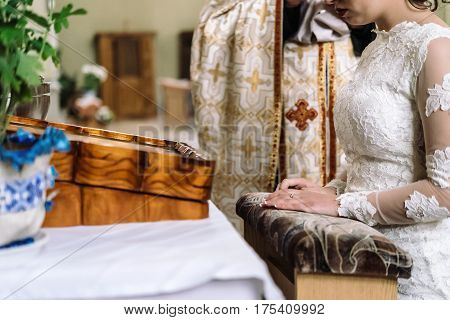 Stylish Luxury Bride And Elegant Groom, Making Oaths, Emotional Traditional  Wedding Ceremony