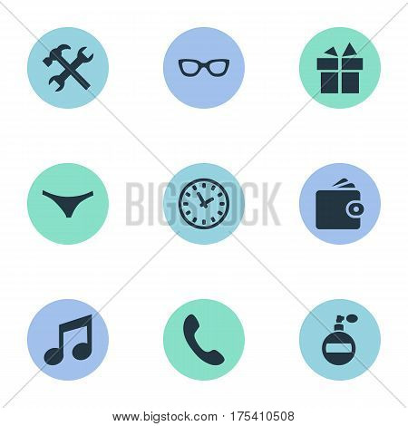 Vector Illustration Set Of Simple  Icons. Elements Present, Call Button, Repair And Other Synonyms Present, Panties And Time.
