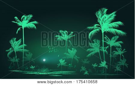 Tropical background with palm trees in moonlight