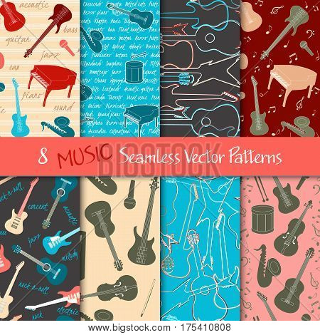 Set of seamless patterns with musical instruments silhouettes and text